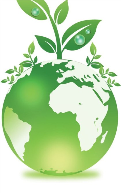 Green globe and plant vector