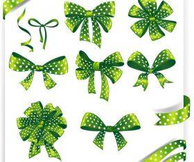 Green ribbons bows vectors set