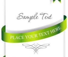 Green ribbons cards vector