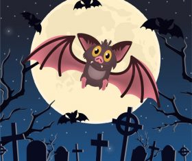 Halloween cemetery bat vector illustration
