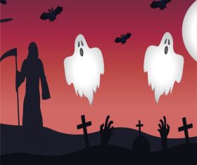 Halloween cemetery ghost vector illustration
