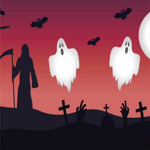 Halloween cemetery ghost vector illustration