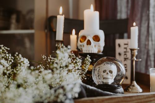 Halloween decorations and candles Stock Photo 01