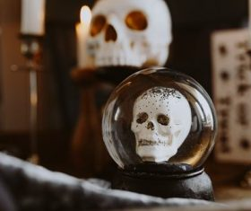 Halloween decorations and candles Stock Photo 02
