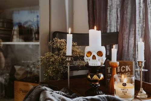Halloween decorations and candles Stock Photo 03
