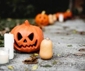 Halloween funny pumpkin lights Stock Photo 02