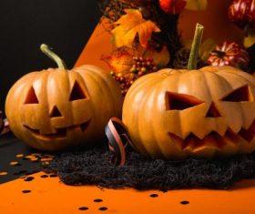 Halloween funny pumpkin lights Stock Photo 03