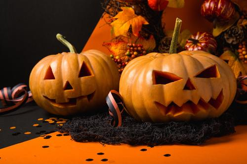 Halloween funny pumpkin lights Stock Photo 03