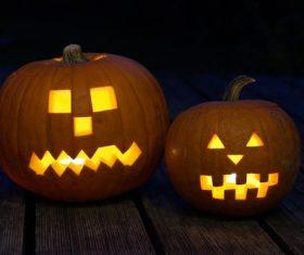Halloween funny pumpkin lights Stock Photo 09