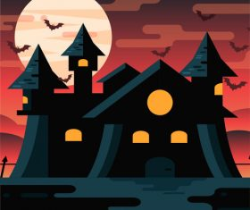 Halloween gloomy castle vector illustration