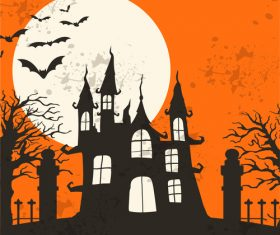 Halloween haunted house and bat vector illustration
