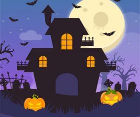 Halloween haunted house and pumpkin vector illustration