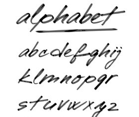 Hand drawing alphabet fonts vector 01
