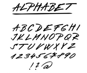 Hand drawing alphabet fonts vector 04