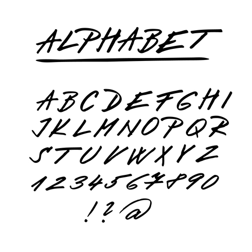 Hand Drawing Alphabet Fonts Vector 04 Free Download
