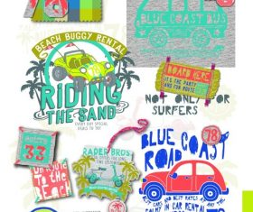 Hand drawn car beach material vector