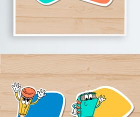 Hand drawn cartoon label texture material vector