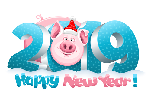 Happy 2019 pig year design vector 02 free download