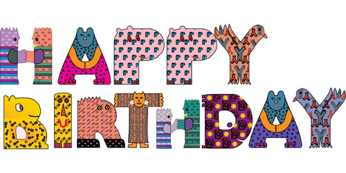 Happy birthday cartoon animal font vector