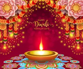 Happy diwali festvial of lights vector material 01