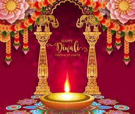 Happy diwali festvial of lights vector material 02