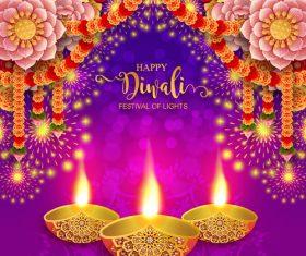 Happy diwali festvial of lights vector material 04