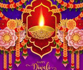 Happy diwali festvial of lights vector material 05