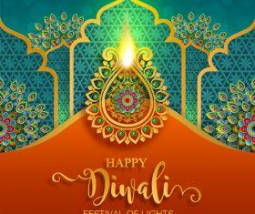 Happy diwali festvial of lights vector material 06