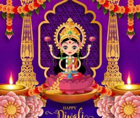 Happy diwali festvial of lights vector material 07