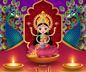 Happy diwali festvial of lights vector material 08