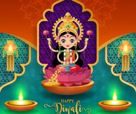 Happy diwali festvial of lights vector material 09