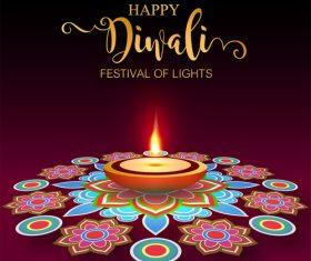 Happy diwali festvial of lights vector material 10