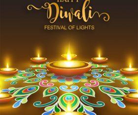Happy diwali festvial of lights vector material 11