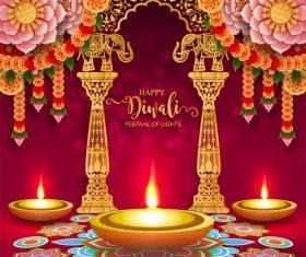 Happy diwali festvial of lights vector material 12