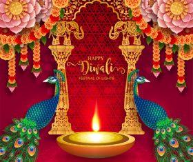Happy diwali festvial of lights vector material 13