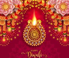 Happy diwali festvial of lights vector material 14