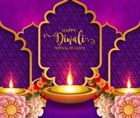 Happy diwali festvial of lights vector material 16