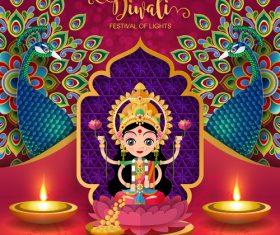 Happy diwali festvial of lights vector material 17