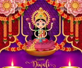 Happy diwali festvial of lights vector material 18