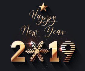Happy new year 2019 dark background vector