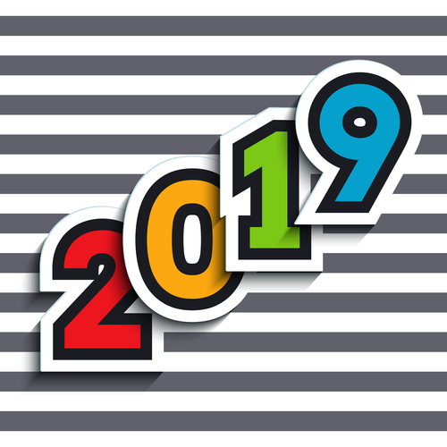 Happy new year 2019 text sticker with gray stripes background vector 01