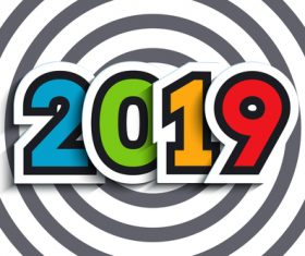 Happy new year 2019 text sticker with gray stripes background vector 02