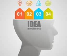 Head idea concept infographic template vector 01