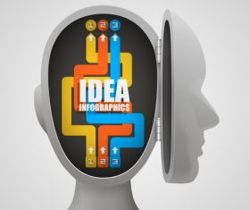 Head idea concept infographic template vector 03