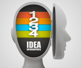 Head idea concept infographic template vector 04