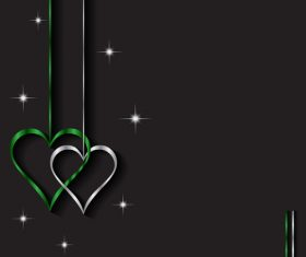Heart shape decorative with black background vectors 01