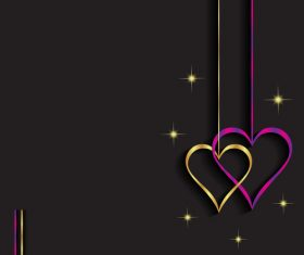Heart shape decorative with black background vectors 02