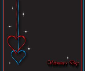 Heart shape decorative with black background vectors 04