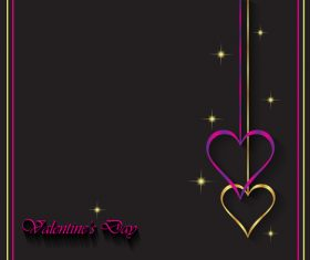 Heart shape decorative with black background vectors 07