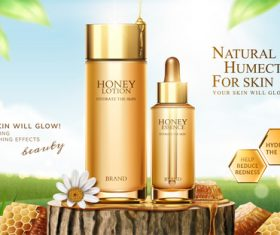 Honey humectants cosmetics poster template vector 02